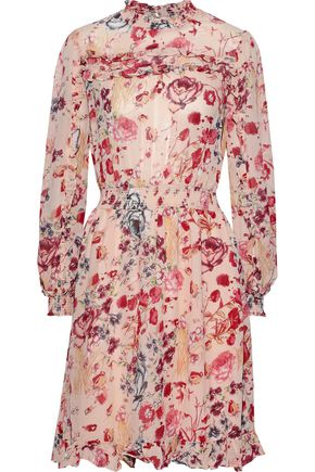 byTIMO Ruffle-trimmed shirred floral-print georgette dress