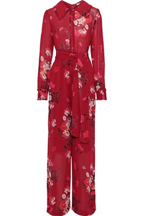 byTIMO Belted floral-print georgette jumpsuit