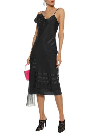 HOUSE OF HOLLAND Plissé tulle-paneled shell midi slip dress