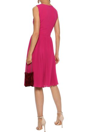 BADGLEY MISCHKA Pleated crepe de chine and georgette dress