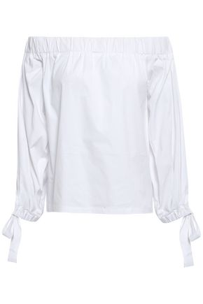 7 FOR ALL MANKIND Off-the-shoulder cotton-blend poplin top