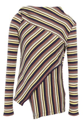 MARQUES' ALMEIDA Asymmetric wrap-effect striped ribbed cotton-jersey top