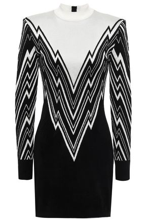 BALMAIN Metallic striped woven mini dress