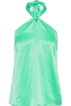 ISOLDA Jade silk-satin halterneck top
