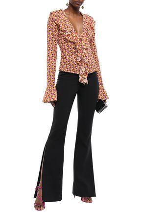 DE LA VALI Tangerine ruffled printed silk-satin blouse