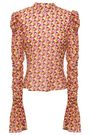 DE LA VALI Printed georgette turtleneck top