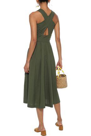 ISOLDA Mumbai cutout appliquéd stretch-cotton poplin midi dress