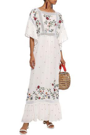 TALITHA Daphane crochet-trimmed embroidered silk-chiffon maxi dress