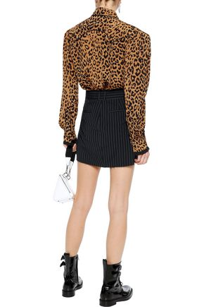 PUSHBUTTON Tie-neck leopard-print silk crepe de chine shirt