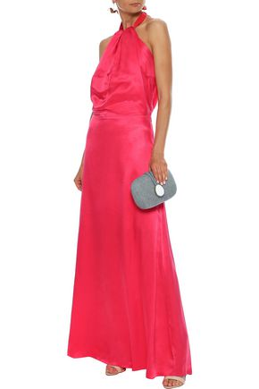 ISOLDA Yohanna silk-charmeuse halterneck gown