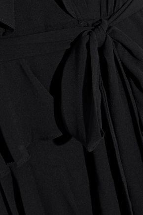 BADGLEY MISCHKA Tiered ruffled georgette gown