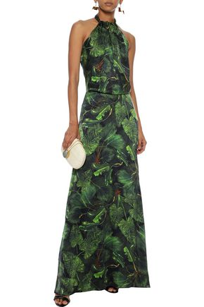 ISOLDA Yohanna printed silk-charmeuse halterneck gown