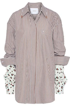 PUSHBUTTON Oversized floral-print twill-paneled striped cotton-blend poplin shirt