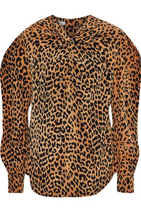 PUSHBUTTON Twist-front leopard-print silk crepe de chine blouse