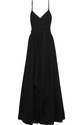 BADGLEY MISCHKA Tasseled broderie anglaise georgette gown