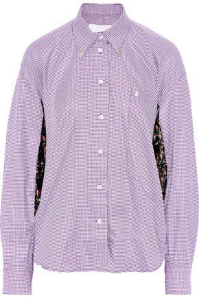 PUSHBUTTON Oversized floral-print velvet-paneled gingham cotton-blend shirt