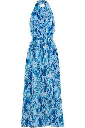 BADGLEY MISCHKA Belted printed chiffon halterneck gown