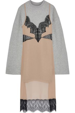 PUSHBUTTON Layered lace-paneled chiffon and French cotton-blend terry sweatshirt