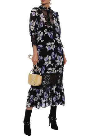 byTIMO Chantilly lace-paneled floral-print georgette midi dress