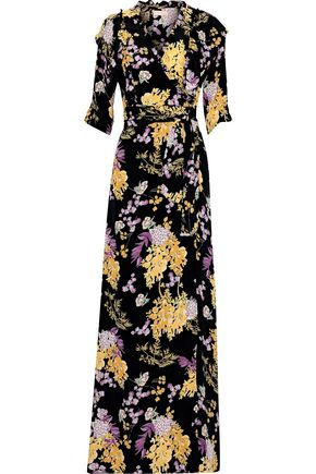 byTIMO Ruffle-trimmed floral-print crepe de chine maxi wrap dress