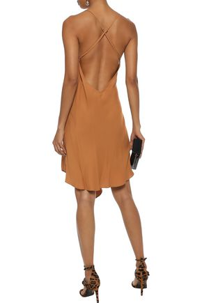 MICHELLE MASON Wrap-effect draped crepe de chine mini slip dress