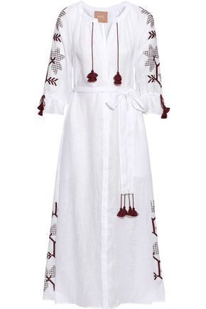 ELEVEN MARCH11 Val tasseled embroidered linen midi dress