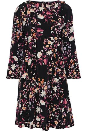 byTIMO Ruffle-trimmed floral-print crepe de chine mini dress