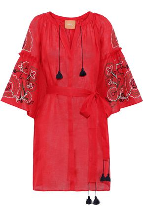 ELEVEN MARCH11 Belted embroidered linen-gauze mini dress