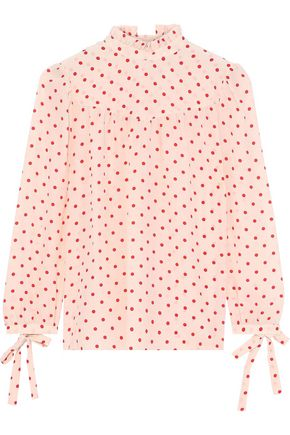 G. LABEL Ashley bow-detailed polka-dot silk crepe de chine blouse
