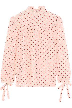 G. LABEL Ashley bow-detailed polka-dot silk crepe de chine blouse
