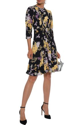 byTIMO Pintucked floral-print crepe de chine dress
