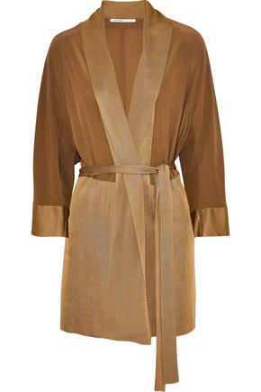 AGNONA Silk crepe de chine and stretch-knit cardigan