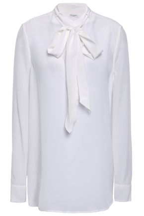 EQUIPMENT Pussy-bow silk crepe de chine blouse