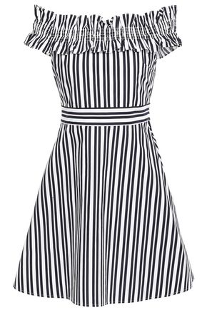KATE SPADE New York Off-the-shoulder striped cotton-blend poplin mini dress