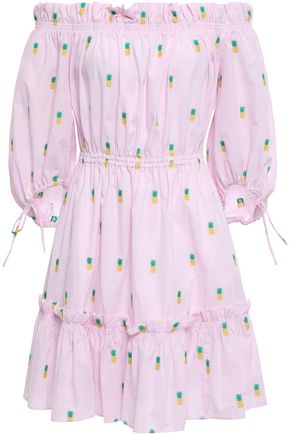 KATE SPADE New York Off-the-shoulder embroidered printed cotton-poplin mini dress