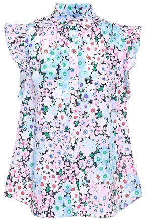 KATE SPADE New York Ruffled floral-print crepe shirt