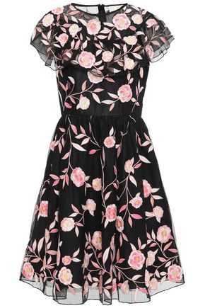 KATE SPADE New York Ruffled embroidered tulle dress