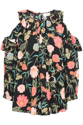 KATE SPADE New York Cold-shoulder floral-print crepe midi dress