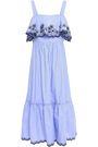 KATE SPADE New York Layered embroidered cotton-poplin midi dress