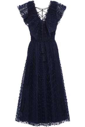 KATE SPADE New York Lace-up embroidered tulle midi dress