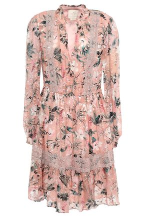 KATE SPADE New York Lace-appliquéd fil coupé silk-blend mini dress
