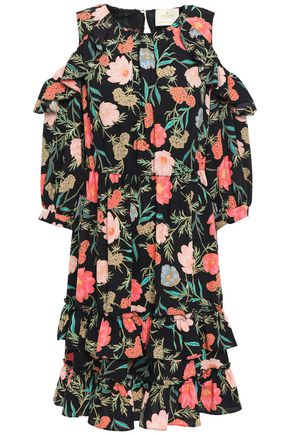 KATE SPADE New York Cold-shoulder floral-print crepe mini dress