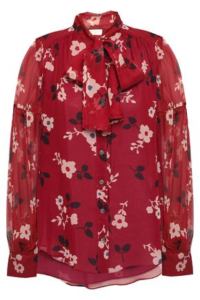 KATE SPADE New York Pussy-bow floral-print silk-chiffon blouse