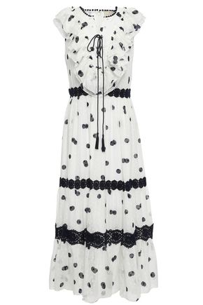 KATE SPADE New York Ruffled polka-dot fil coupé silk midi dress