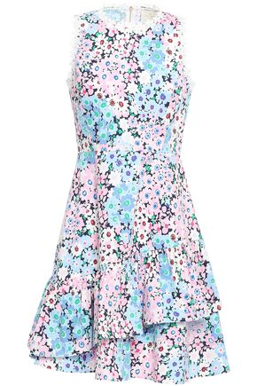 KATE SPADE New York Floral-print layered stretch-cotton mini dress