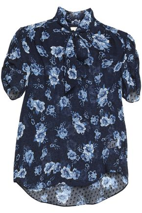 KATE SPADE New York Pussy-bow floral-print fil coupé silk-chiffon blouse