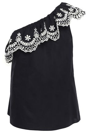 KATE SPADE New York One-shoulder ruffled embroidered cotton top