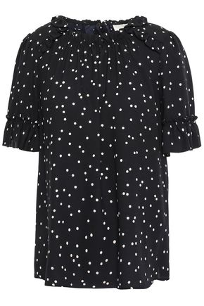 KATE SPADE New York Gathered polka-dot crepe top