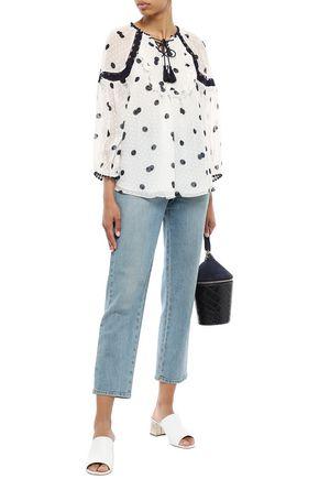 KATE SPADE New York Ruffled printed fil coupé silk blouse