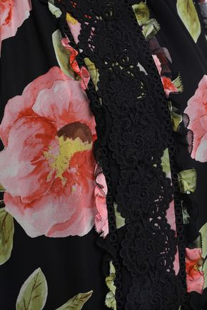 KATE SPADE New York Lace-trimmed floral-print silk-georgette blouse